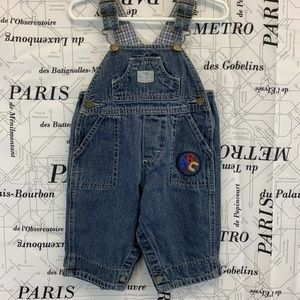 Oshkosh Solid Blue Overalls Embroidered Accents